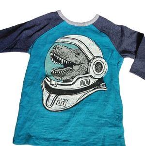 Space Dinosaur Baseball Tee Shirt Henley 5T